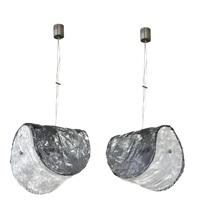 coppia di lampadari a doppi elementi by carlo nason