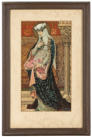 Art Nouveau female artists: portrait of a renaissance woman holding roses by élisabeth sonrel