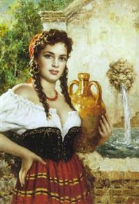 portræt af ung italienerinde by luigi amato