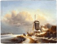 winterlandschaft mit mühle by frederik marinus kruseman