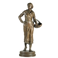 sculpture of woman with basket by ernest-charles-dèmosthène guilbert