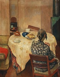 interior with a back turned woman sitting at a coffee table by carl fischer
