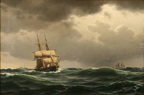 sailing ships in heavy sea by carl emil baagöe