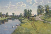 the village pond by nicolai alekseevich pinigin