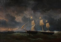 seascape with sailing ships in rough sea by egidius linnig