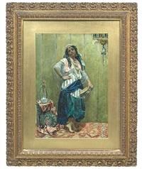 tänzerin mit tambourin neben einem tisch mit pfauenfächer und wasserpfeife by cesare biseo