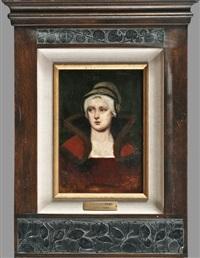portrait einer dame mit haube und stehkragen by george von hoesslin