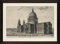 south east prospect of the cathedral church of st. paul in london (+ the west prospect of the cathedral church of st.paul's london, engraved by j.smith; 2 works) by pierre fourdrinier