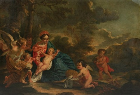 madonna and child in a landscape by sir anthony van dyck