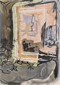 harbour window in mirror, st. ives: 1952 by patrick heron
