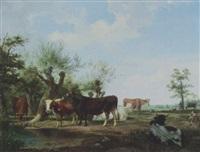 kühe und stier auf der weide by friedrich karl joseph simmler