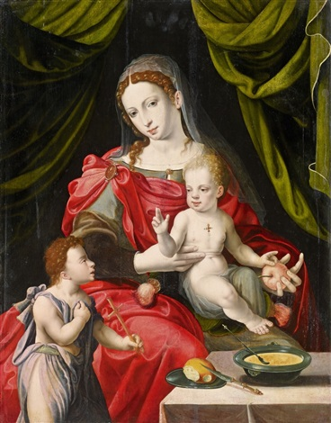 madonna and child with saint john the baptist by master of the prodigal son