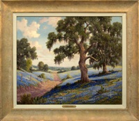 bluebonnets in a texas landscape by dollie nabinger