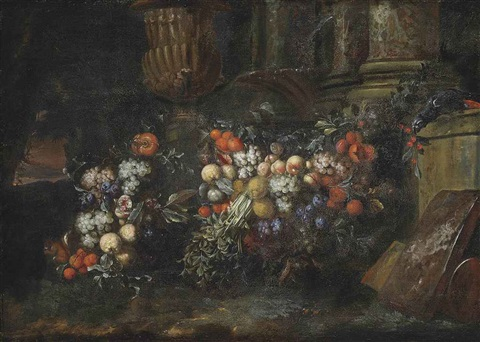 grapes plums pomegranates oranges and other fruit with a parrot among classical ruins in a landscape by jan pauwel gillemans the elder