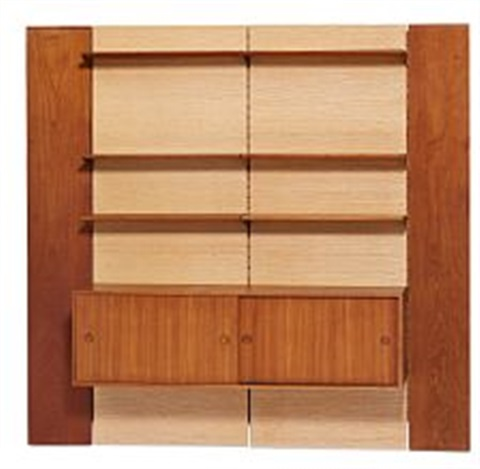 finn juhl a wall unit consisting of a cabinet six panels and four hessian covered leaves 28