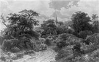 bewaldete landschaft mit reisigsammler und kirchturm by august weber