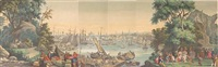 boston harbor (from vue d'amérique du nord wallpaper panels, after jean-julien deltil) by jean zuber
