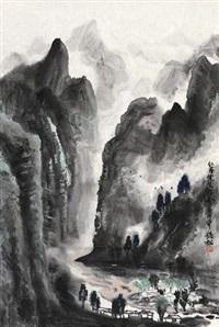 山水 镜片 设色纸本 by xu qinsong