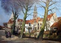 dutch town landscape by hendrik jan wolter