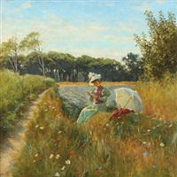 summer day in the field with young woman and parasol by andrei semenov