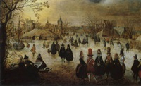 winterlandschaft mit eisläufern by adam van breen