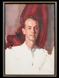 portrait of a man in a white shirt by wayman adams
