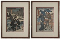 three women with blue hats at edge of bridge; seated woman with black cloak on a snowy evening (2 works) by utagawa toyokuni (toyokuni i)