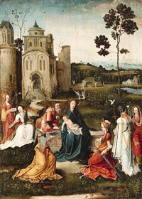 the holy family surrounded by saints by flemish school-antwerp (16)