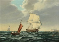 a warship with kronborg at the port side by siegfried hass