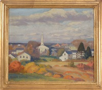 chatham, congregational church painted from near old mill by harold c. dunbar
