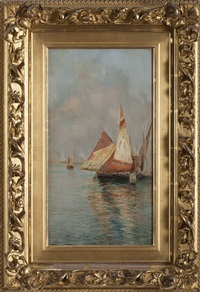 sailboats moored at venice by anna richards brewster