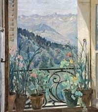 kig gennem et åbentstående vindue mod sneklædte bjerge by bertha dorph
