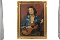 woman with guitar by janos laszlo aldor