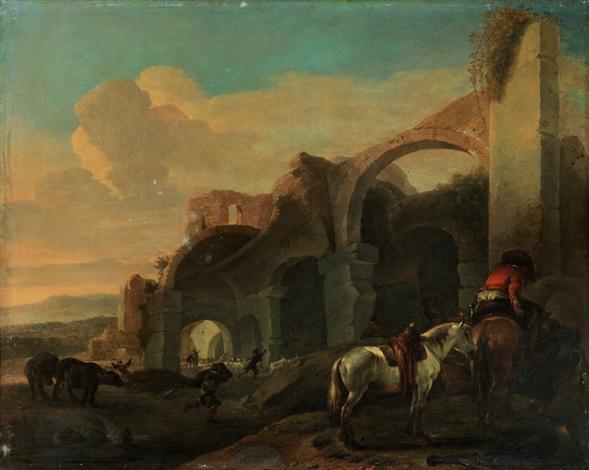 südliche landschaft mit ruinen rastendem reiter mit zwei pferden by jan asselijn