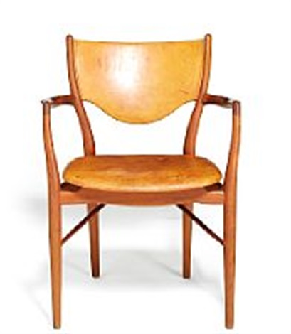 finn juhl armchair upholstered with patinated natural leather manufactured by bovirke