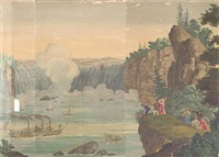 niagara falls (from vues d'amérique du nord wallpaper, after jean-julien deltil) by jean zuber