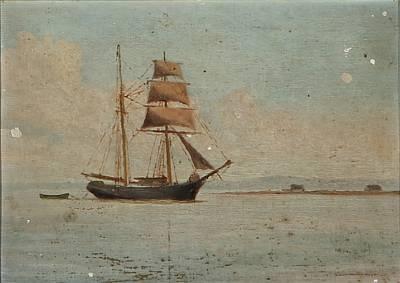 a brig near a coast by carl jens erik c rasmussen