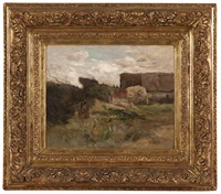 lady with basket in a farmyard by edmond charles joseph yon