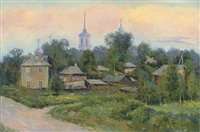 a russian village, twilight by nicolai alekseevich pinigin