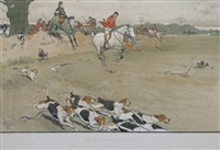 hunt prints, each enclosed in an ebonised moulded frame (set of 6) by cecil charles windsor aldin