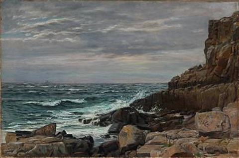 rocky coastal scene from bornholm island denmark by christian peder mørch zacho