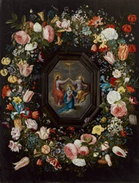 blumenkranz um eine krönung mariens by frans francken the younger and andries danielsz
