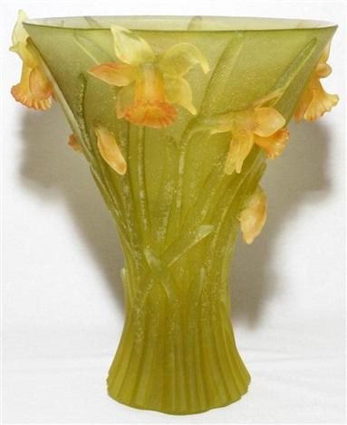 daum pate de verre daffodil vase h 9 12 dia 7 34