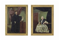 portrait of a clergyman, small full-length, in black robes...; portrait of a woman (pair) by john russell