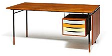 finn juhl writing desk with detachable flip down leaf and coloured drawer section manufactured by bovirke