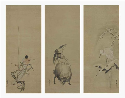 heron 2 others 3 works triptych by kano yasunobu