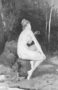 weiblicher akt auf einer waldlichtung by theodor volmar