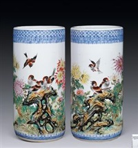 《雀跃腾欢报吉祥》箭筒 (famille-rose glazed vase with design of auspicious) by deng xiaoyu