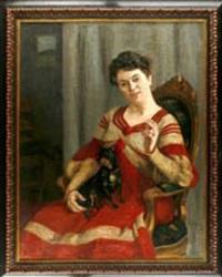 portrait einer sitzenden dame mit schoßhund by leo von könig