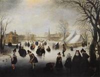 holländische winterlandschaft mit eisläuferin und kolfspielerin by adam van breen